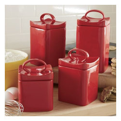 "Home Essentials - Cherry Red Ceramic Square Wavy Canister Set - Add a pop of color to your kitchen and keep essential ingredients within reach with our durable, and attractive canister set. Artfully designed of glossy red ceramic, these wonderful canisters are ideal for storage of kitchen staples and will spice up any kitchen or living room with culinary style. Both functional and beautiful, they are a joy for daily use and a treasure to pass on through generations! * Set of 4 * Gift boxed * Made of ceramic material Dimensions are as follows: - Small: H: 4.7"" D: 4.45"" - Medium: H: 5.7"" D: 4.45"" - Large: H: 7.6"" D: 4.45"" - Extra Large: H: 7.6"" D: 4.45"""