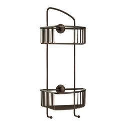 """nie wieder bohren - Germany - no drilling required Corner Shower Caddy - Oil Rub Bronze - DK210-ORB Double corner shower caddy by nie wieder bohren (no drilling required). Beautiful all weather, scratch resistant oil rub bronze finish. Constructed of solid brass and finished with a durable oil rub bronze finish. Rustproof and can be used indoor or out. Mounts without drilling using the patented German mounting system. The system is simple to install, no measuring or tools and can be removed if needed with no damage to the surface. Works on tile, natural stone, glass, metal, wood, concrete, brick and metal. Lifetime limited warranty on mounting system. 16"""" tall x 7"""" depth x 2-1/2"""" deep baskets, 9-1/8"""" spacing between shelves, 9-1/4"""" spacing between mounting points (center to center)."""