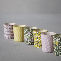 Printed Lumière Votives - These sweet little votives would be beautiful lined up down the center of an outdoor dining table, and the lavender and lime color palette is one of my favorites for summer.