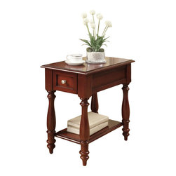 "Acme - Corin Cherry Finish Wood Chair Side End Table with Drawer and Turned Legs - Corin cherry finish wood chair side end table with drawer and turned legs. Measures 14"" x 22"" x 23"" H. Some assembly required."