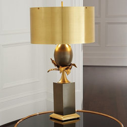 Global Views - Global Views 9.91587 Egg and Palm Brass-Bronze Transitional Table Lamp - Global Views 9.91587 Egg and Palm Brass-Bronze Transitional Table Lamp