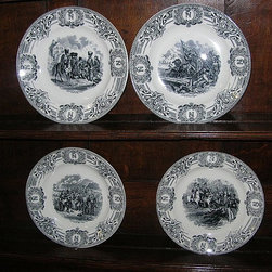 """Set of (12) Black & White La Louvière Porcelain Transferware Plates made by Boch - 'Voyages en Diligence' series.  9.5"""" Dia. Each border has (4) 'N's inset into a wreath with the royal crown set above - very elegant. Marked Boch F, La Louivière. Made in Belgium with 'Fabrication Belge' Stamp on reverse."""
