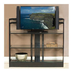 """Johnston Casuals - Encore 54"""" TV Stand - Who couldn't use some versatility in their space? The Encore Contemporary Plasma TV Stand, featuring a sleek yet functional design, gives you all of that along with loads of style. With its beautiful glass shelves and many available metal finishes, this contemporary TV stand is versatile enough to match any dcor. Individually hand-made in Johnston Casuals' USA factory, you can be sure this TV stand will provide years of lasting quality and aesthetic appeal. TV Stand Features: -Shown in """"black"""" finish. -Individually hand-crafted in the USA. -High quality powder-coat metal construction. -Suitable for flat-screen TVs only. -3 Glass shelves. -Sleek yet functional contemporary design. -10-Year structural failure warranty on metal frame. -Please note: This item is made to order. As such, orders cannot be cancelled after 15 days. . More customization options may be available for an additional charge. Also, please be aware that as each item is created individually, slight variations in finish and shape may occur."""