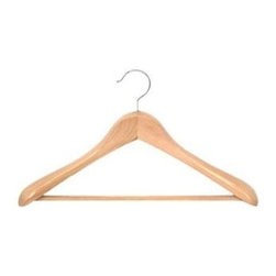 Proman Products - Taurus Wide Shoulder Suit Hanger in Natural F - Set of 12. PVC ribbed bar. Suitable for heavy coat and suits