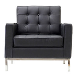 IFN Modern - Florence Knoll Style Armchair-Black - 100% Italian Leather - Florence Knoll, an acclaimed architect and designer, first conceived this beautiful chair in 1956. Knoll's philosophy for furniture design comes from the value that she placed on practicality and aesthetic beauty. The pieces resulting from her philosophical vision are considered to be minimalistically beautiful without compromising on durability and comfort. Knoll designed the luxuriously classic Florence Knoll chair using a durable stainless steel frame which contained minimal materials. The chair features beautiful cubic cushions complimented with compressed buttons in a functional layout which provides both style and comfort to the thin, minimalist supporting arms. The Knoll Chair is highly desired as it's minimal yet practical design can adapt perfectly into today's modern home or space. â— Product is upholstered in 100% Full Grain Italian Leatherâ— High Polished Solid Stainless Steel base frame ensures no chipping or rustingâ— Traditional hardwood box frame constructionâ— Reinforced bottom seat cushion platform for firm long lasting comfortâ— Corner Solid Stainless Steel base joints are fully welded, grind, sealed and sandedâ— High-density resilient seat and back foam wrapped in silk layer provide comfort and cushion structure memoryâ— Cushions CA-117 fire retardant compliantâ— Removable back and seat cushions.â— Complete with floor protection pad caps on legs