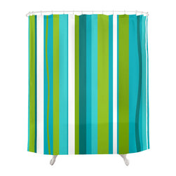 Crash Pad Designs - Renee Pedro Barkley Shower Curtain - The fun doesn't have to stop at the bathroom door. Our funky shower curtain will