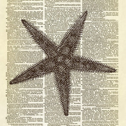 Altered Artichoke - Starfish Seaside Ocean Dictionary Art Print, Sepia - This print features a beautiful antique illustration of a starfish. There's lovely detail on this one. Perfect for your beach-style decor.