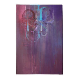 """N/A - 'Charmed' Original Painting - """"Charmed"""" by artist Dan Nash Gottfried melds a prism of red and purple with swirls of sky blue and white. Such an eye-catching piece of art deserves a special place in your home."""