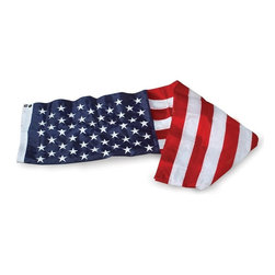 US Flag 10x15 Embroidered Nylon - Outdoor Nylon American Flag U.S. Flag Store's Embroidered Nylon 10' x 15' American Flags are made in the USA. Featuring densely embroidered stars and stitched stripes, these are traditional, quality American flags - they are not cheap imports or printed flags! These flags are made with 200 denier nylon which is both lightweight and exceptionally tough. Since nylon flags are lightweight, they fly in gentle breezes, and are recommend for flying in parts of America with low wind and year round sun. If you live in an area with high wind and extreme weather conditions, U.S. Flag Store recommends flying a Polyester American Flag.