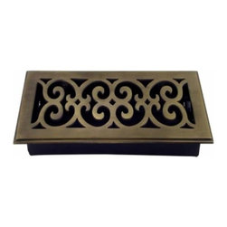 Richelieu Hardware - Richelieu Scroll Brass Floor Register 277mmx106mm Antique English - Richelieu Scroll Brass Floor Register 277mmx106mm Antique English