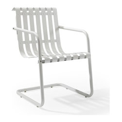 Crosley Furniture - Gracie Retro Spring Chair in Alabaster White - Sturdy Steel Construction. Easy To Assemble. UV Resistant. Indoor/Outdoor Construction. Variety of Colors to Match any D̩cor. Powdercoated Finish. Assembly Required. 22 in. L X 21.75 in. W X 31.5 in. H (23.5 lbs.)Prepare to be swept back in time by the new Gracie chair from Crosley.  This unique chair uses a simple cantilevered design to cradle a person comfortably in place, allowing them to gently bounce away the frustrations of their day.  Made of durable steel, the chair is expertly powder coated to withstand whatever the elements can throw at it.  Available in 4 playful colors, the Gracie is certain to become the best seat in the house.