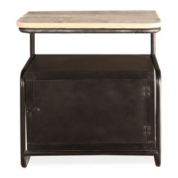 Kathy Kuo Home - Meyer Industrial Loft Iron Reclaimed Wood Locker Side Table - Secrets are safe within this luxurious locker working under cover as a side table. The reclaimed wood top adds natural, rustic dimension to the industrial polished iron base. Smaller dimensions add versatility to this table that works next to a sofa, in a bedroom or in an entryway.