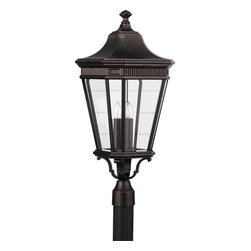 Murray Feiss - Murray Feiss Cotswold Lane Transitional Outdoor Post Lantern Light X-ZBG8045LO - A traditional tapered shape with clean lines and subtle details, this Murray Feiss outdoor post lantern light is sure to please. From the Cotswold Lane Collection, it features a rich and stylish Grecian Bronze finish. Three candelabra style lights are housed behind clear beveled glass panels that complete the look.