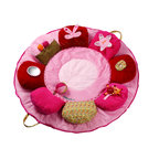 Lilliputiens Rose Playmat - This flower-shaped playmat offers a bouquet of activities: sounds, different textures and various forms: ideal to stimulate baby's curiosity. Moreover, the mat is very practical: fold, zip, and take along! Educational values: -Development of tactile sense thought various materials. -Stimulating the awakening of the senses through different activities on each leaf (leafs can be lifted up, sliding ladybird, hidden butterfly, mirror, ball,). -Different sounds and noises (squeaker, bell, rattle, paper noise)