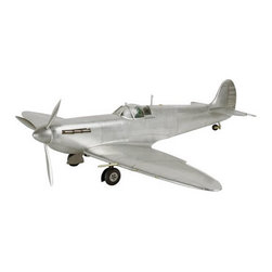 "Spitfire Model Fighter Airplane - The spitfire measures 24"" x 29.75"" x 6.75"". The legendary Spitfire fighter plane was introduced in 1936. The short-range, high-performance, single-seat aircraft gained notoriety in defense against Luftwaffe attacks during the Battle of Britain in 1940. As a mainstay of the Royal Air Force Fighter Command its speed and maneuverability were essential to carrying out its missions across the European and South-East Asian WWII theaters. The Spitfire was beloved by pilots, and in its many variants it served as trainer, interceptor, fighter-bomber and carrier-based fighter during the 1939-45 conflict. Its iconic status among enthusiasts has held strong in the ensuing years since its retirement from active service in the 1950s. The display stand is included. It was made using flat or corrugated metal sheet attached to a lightweight frame. It features functioning ailerons and tail rudder."