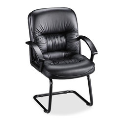 Lorell - Lorell Tufted Leather Executive Guest Chair - Black - Leather Black Seat - Guest chair offers genuine tufted leather overstuffed cushions, oversized seat and back, cantilevered base and contemporary style arms. Waterfall seat design reduces leg fatigue. Seat height is 20-3/4. Chair is available in black frame only.