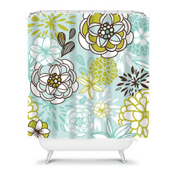 Shower Curtain Flower Lime Aqua 71x74 Bathroom Decor Made in the USA - DETAILS:
