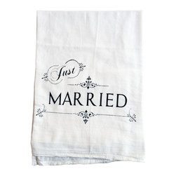 "The Coin Laundry - Just Married Cotton Kitchen Towel - ""I love being married. It's so great to find that one special person you want to annoy for the rest of your life."" -Rita Rudner"