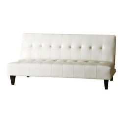 "Acme - Conrad White Leather-Like Adjustable Sofa Futon Bed with Tufted Back - Conrad white leather like adjustable sofa futon bed with tufted back and dark finish legs. This set features a leather like upholstery and a folding back to lay flat to convert to a sleep area. Measures when flat 70"" x 44"" x 16"" H. Measures when upright 70"" x 34"" x 33"" H. Some assembly required."