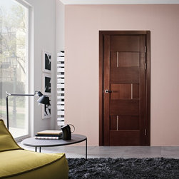 Dominika Modern Interior Door Wenge Finish - * Price listed includes door slab,adjusted frame and moldings ** ( hardware seperate )