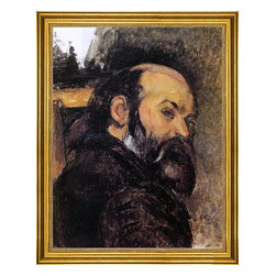 """Paul Cezanne-18""""x24"""" Framed Canvas - 18"""" x 24"""" Paul Cezanne Self Portrait framed premium canvas print reproduced to meet museum quality standards. Our museum quality canvas prints are produced using high-precision print technology for a more accurate reproduction printed on high quality canvas with fade-resistant, archival inks. Our progressive business model allows us to offer works of art to you at the best wholesale pricing, significantly less than art gallery prices, affordable to all. This artwork is hand stretched onto wooden stretcher bars, then mounted into our 3"""" wide gold finish frame with black panel by one of our expert framers. Our framed canvas print comes with hardware, ready to hang on your wall.  We present a comprehensive collection of exceptional canvas art reproductions by Paul Cezanne."""