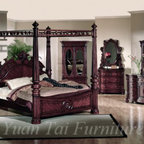 Luxurious Bedroom Collection - Yuan Tai Furniture CR1000Q CORINA Dark Cherry Wood Canopy Victorian Style Bed With Matching Casegoods Bedroom Set