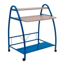 Calico Designs - Blue Arc Table - Powder Coated Steel for Durability. Casters for Mobility with 2 Locking. Overall Dimensions: 31.5 in. W x 22 in. D x 37 in. H. Main Work Surface: 29.75 in. W x 7.5 in. D. Top Shelf in. 29.75 in. W x 7.5 in. D. Bottom Metal Shelf: 31.5 in. W x 10.25 in. D
