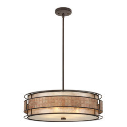 Quoizel - Mica Renaissance Copper Four-Light Pendant - -Material: Steel  -Shade: 22 x 6 Quoizel - MC8420CRC