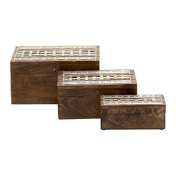Lovely and Stylish Wood Metal Box Set Of 3 - Features: