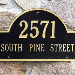Arched Address Plaque - Add some curb appeal to your home or business with this impressive address plaque. High quality aluminum construction allows this estate marker to withstand the elements for years to come. Your choice of one or two lines of personalization.