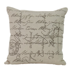 Zentique - Scripted Pillow - This piece is a 20x20 natural linen pillow with scripted print.