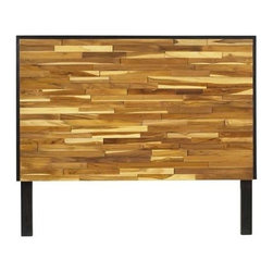 Padma's Plantation - Reclaimed Wood Headboard by Padma's Plantation - Made of blocks of scrap wood of varying sizes and thicknesses, this headboard has a rich variation in natural wood grain in a dark-stained frame. Hardware is included for pairing with a standard metal bed frame. (PP)