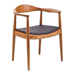 """IMPORT LIGHTING & FUNITURE - The Kennedy Arm Classic chair - Known as """"the world's most beautiful chair"""" make your move toward true visionary growth. Take the lead as you sit comfortably in this memorable piece of endurance. The Presidential Chair is exceptional both for its pristine polished wooden form and the unparalleled symbolism which it is famous for. In 1960, the TV company CBS bought twelve copies of the chair for the first live broadcast of an election debate; between John F. Kennedy and Richard Nixon. It was Kennedy who requested this chair; he wanted a comfortable chair for his aching back. 70 million people watched the Wegner chair on live broadcast and it was even mentioned in the newspaper election reports the day after. A compact dining chair that can also be stacked. The lower back support and horizontal seat also make the chair suitable for working at a table or desk. The unique seat base, made from a solid American Walnut provides exceptional stability without crosspieces between the legs."""