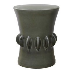Smoke Grey Jewel Garden Stool - Jewel garden stool with grey glaze.