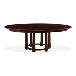 Baker Furniture - Morris Round Dining Table - The Morris is the kind of relaxed dining table favored by many of Michael S Smith's clients. Sturdy, yet perfectly proportioned, this is sculpture with a strong sense of patina. Available in a choice of finishes. This version has perimeter fillers, effectively creating a bold border detail and allowing the Morris to seat at least nine comfortably.