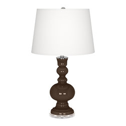 """Color Plus - Contemporary Carafe Apothecary Table Lamp - This apothecary style Color + Plus™ glass table lamp will infuse your decor with brilliant color and style. This beautiful Carafe brown designer lamp is hand-crafted by experienced artisans in our California workshops. It stands on a lucite base and is topped with a stylish white linen shade. Designer Carafe brown glass table lamp. White linen drum shade. Lucite base. Maximum 150 watt or equivalent bulb (not included). On/off switch. 30"""" high. Shade is 14"""" across the top 16"""" across the bottom 11"""" high.  Carafe brown glass table lamp.  White linen drum shade.  Lucite base.  Maximum 150 watt or equivalent bulb (not included).  On/off switch.  30"""" high.  Shade is 14"""" across the top 16"""" across the bottom 11"""" high."""