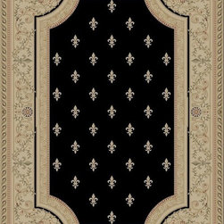 "Concord Global - Concord Global Imperial Fleur De Lys Black 2'3"" x 7'7"" Runner Rug (1243) - Rugs in the Imperial Collection are reproductions of the antique carpets that were made in Turkey, Iran and France. Their mellow tones are suited for any color scheme."
