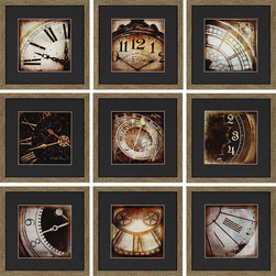 Paragon Decor - Today Set of 9 Artwork - Slices of vintage clocks capture the essence of keeping time.  Matted in black and framed is distressed gold finish molding.
