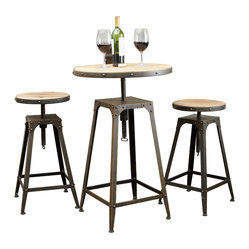 Great Deal Furniture - Tavern Industrial Design Bar Bistro Set - The Tavern 3-piece bar bistro set offers a popular industrial style in a sturdy construction. Its adjustable height and swivel functionality make it an ideal addition to your home.