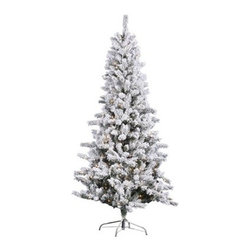 """Vickerman J126076 Flocked Slim Pine Trees Christmas Tree (with lights) - Get 10% discount on your first order. Coupon code: """"houzz"""". Order today."""