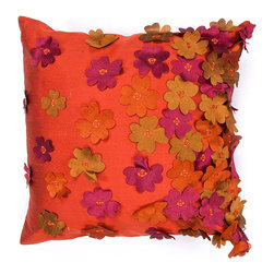 """Jaipur Rugs - Handmade Poly Dupione Orange/Purple (18""""x18"""") Pillow - Inspired by the bohemian European craft techniques of the 60's, this funky range of pillows in poly dupione use rich jewel tones expressed in a highly textural and fun way. Perfect for a touch of retro glamour in your home."""