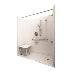 "Ella's Bubbles - Ella Deluxe Barrier Free, Roll In Shower 60""W x 37""D x 78""H, Right Drain - The Ella Deluxe, (5-Piece) 60 in. x 36 in. Roll in Shower is manufactured using premium marine grade gel coat fiberglass which creates a smooth, beautiful, long lasting surface with anti-slip textured shower base floor. Ella Deluxe Barrier Free Shower walls are reinforced with wood and steel providing flexibility for seat and grab bar installation at needed height for any size bather. The integral self-locking aluminum Pin and Slot System allows the shower walls and the pre-leveled shower base to be conveniently installed from the front. Premium quality material, no need for drywall or extra studs for fixture support, 30 Year Limited Lifetime Warranty (on shower panels) and ease of installation make Ella Barrier Free Showers the best option in the industry for your bathtub replacement or modification needs."