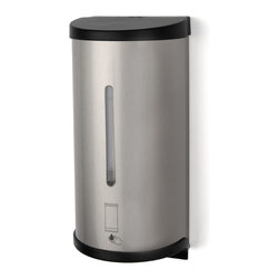 """Palmer Fixture - Electronic Touchless Bulk/Cartridge Soap Dispenser, Stainless Steel - The Electronic Touchless Bulk/Cartridge Soap dispenser with a stainless steel finish, features touchless activation to prevent cross-contamination. The unit has a refillable container that can be used with almost any soap purchased in bulk. Dispenser cannot be used with any pumice soaps. To prevent waste, it consistently dispenses one drop (1-1.5ml) at a time. The container assembly and mechanism are 100% separate to prevent any damage from the soap. The dispenser operates on 3 C-cell alkaline batteries for up to 10,000 cycles and features an automatic power shut off when cover is opened. The unit has a vandal resistant security lock and key.; Dimensions: 4 13/16"""" L x 4 3/16"""" W x 10 5/8"""" H; Includes 1 key, type 4; Includes hardware pack"""