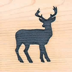 Door Mat:  Bamboo Sticks, Deer - Cedar Wood Door Mat - Deer