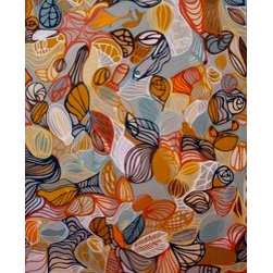 You Know Who You Are (Original) by Dyd Art - Mixed media piece on stretched canvas.  Sides of canvas painted and hang wire attached.  Lots of detail and sea creatures make up this piece.  I spent many hours staring into the San Francisco bay and painting the lines on this piece.  I let my mood and surroundings influence my flow of the lines.  I placed paper on the canvas in some areas to give the piece some texture.