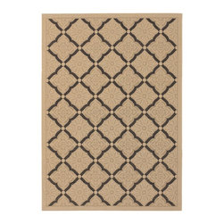 Couristan 3077-0016 Five Seasons Cream Indoor/Outdoor Rug - Beautify your floors by adorning them with the Couristan 3077-0016 Five Seasons Cream Indoor/Outdoor Rug. It features a flat weave and a mosaic-inspired design in tones of cream and black for a transitional style that blends with any decor. This quality indoor/outdoor rug is constructed with 100% polypropylene using power-loomed construction for durability. It's mold- and mildew-resistant, as well as UV stabilized to help keep the color from fading. Recommended care includes spot-cleaning as needed. Available in a variety of shapes and sizes, it's made in Turkey by the Couristan Rug company.