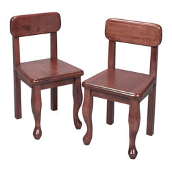 Gift Mark - Gift Mark A Pair of Queen Anne Chairs Cherry - The Gift Mark Queen Anne Chairs, are Solid and Durable. These Chairs will add a touch of sophistication to any child's room or Play Room. Intended specifically for your Child. Children Play for Hours on end. Our Table and Chair Sets clean easily with any quality Furniture Polish. All Tools Included for Quick and Easy Assembly. The 3003 series is Designed to go with the 3000, 3001, or 3002 Tables and Chair Set