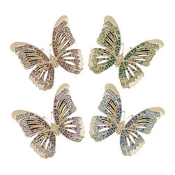 L'Objet - L'Objet Gold Butterflies Napkin Jewels Set of 4 - L'Objet is best known for using ancient design techniques to create timeless, yetdecidedly modern serveware, dishes, home decor and gifts. 14k Gold Plated Napkin Rings Swarovski Crystals Pink, Purple, Green and Blue All ring sets are presented in a luxury gift box. Set of Four. Attention to detail is often what distinguishes any presentation from beautiful to memorable. These napkin jewels will enrichany decor with their distinguishable handcrafted details.