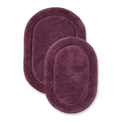 Superior Collection Luxurious Cotton Oval Bath Rug Set - Plum - These durable bath rugs are constructed of premium combed cotton with a non slip latex backing. Available in 10 exciting colors. Dimensions: 24 inches x 36 inches & 20 inches x 30 inches.