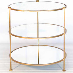"""Worlds Away - Worlds Away Gold Leaf 3-Tier Gold Leafed Table - Like the perfect piece of jewelry completing a look, this mirrored side table gives your room a sparkle of chic sophistication. The gorgeous gold leaf finish sets a foundation for three mirrored tiers. This table pairs nicely at the ends of a sofa, with a chair, or even by the bed. 28""""H x 25""""Dia."""